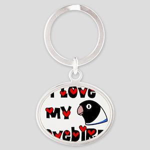 generic_lovebirdblkblue Oval Keychain