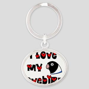 generic_lovebirdblkblue_hat Oval Keychain