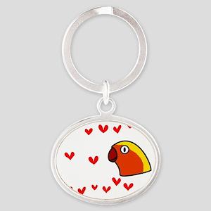 generic_lovebirdfischer_black Oval Keychain