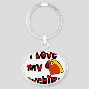 generic_lovebirdfischer_hat Oval Keychain