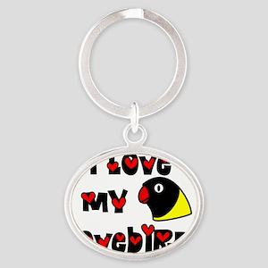 generic_lovebirdblk Oval Keychain