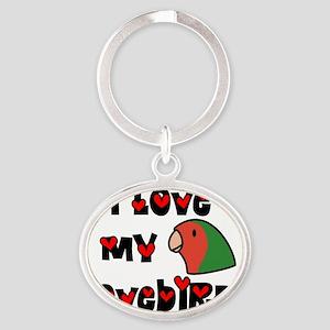generic_lovebirdpeach Oval Keychain