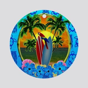 Island Sunset Surfer Tiki Ornament (Round)