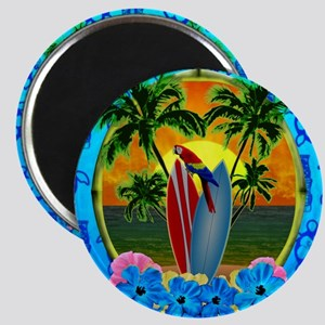 Island Sunset Surfer Tiki Magnet