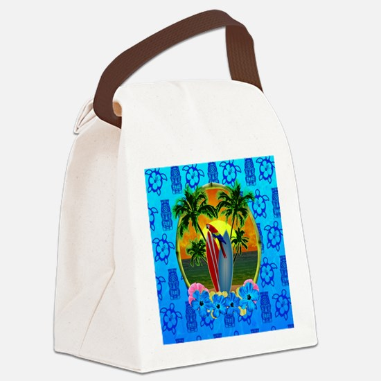 Island Sunset Surfer Tiki Canvas Lunch Bag