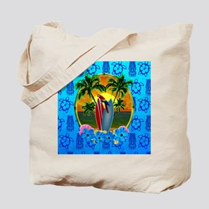 Island Sunset Surfer Tiki Tote Bag