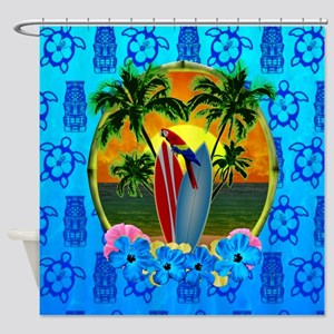 Island Sunset Surfer Tiki Shower Curtain