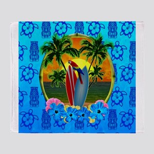 Island Sunset Surfer Tiki Throw Blanket
