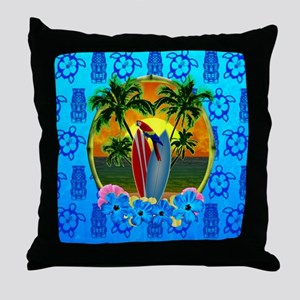Island Sunset Surfer Tiki Throw Pillow