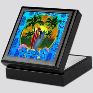 Island Sunset Surfer Tiki Keepsake Box