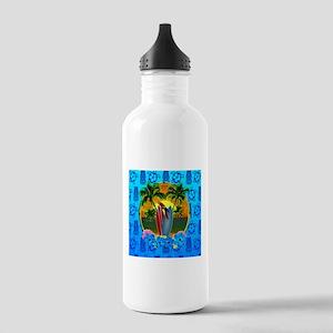 Island Sunset Surfer Tiki Water Bottle