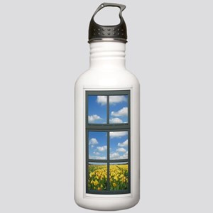 Holland Spring Tulips Window View Water Bottle