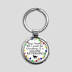 ds_goldenretriever Round Keychain
