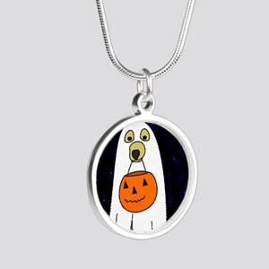 trickortreat_mousepad Silver Round Necklace