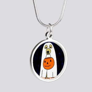 trickortreat_ornament Silver Round Necklace