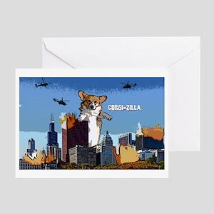 corgizilla_oval Greeting Card
