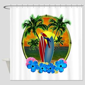 Island Sunset Parrot Shower Curtain