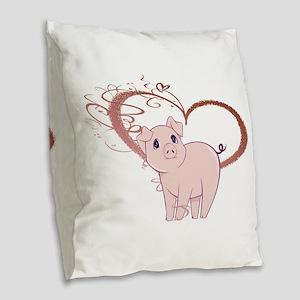 Cute Piggy Art Burlap Throw Pillow