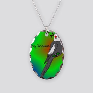 reindeer_cockatielwhiteface Necklace Oval Charm
