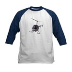 Helicopter Flying Aviator Kids Baseball Tee
