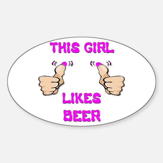 This Girl Likes Beer Sticker (Oval)