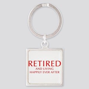 retired-and-living-happily-OPT-RED Keychains