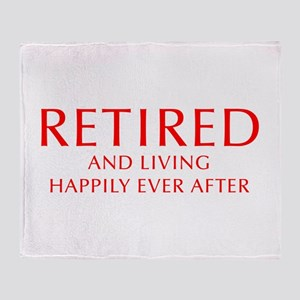 retired-and-living-happily-OPT-RED Throw Blanket