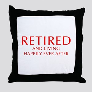 retired-and-living-happily-OPT-RED Throw Pillow