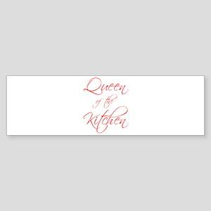 queen-of-kitchen-scr-red Bumper Sticker