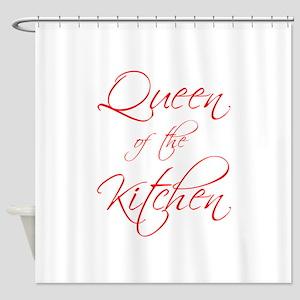 queen-of-kitchen-scr-red Shower Curtain
