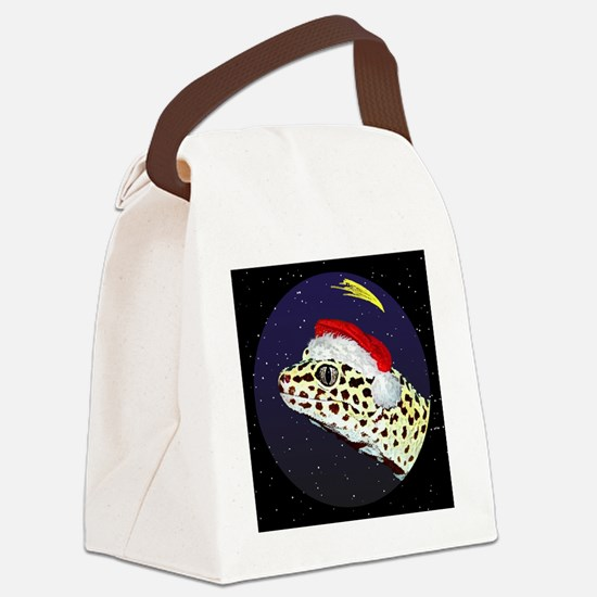 christmasnight_leopardgecko Canvas Lunch Bag