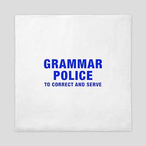 grammar-police-hel-blue Queen Duvet