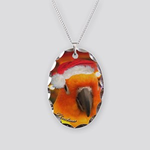 3-christmas_sunconure_ornament Necklace Oval Charm