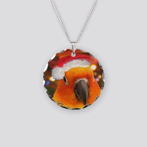 3-christmas_sunconure_orname Necklace Circle Charm