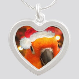 3-christmas_sunconure_orname Silver Heart Necklace