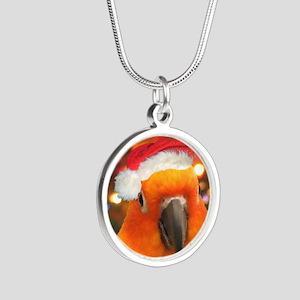 3-christmas_sunconure_orname Silver Round Necklace