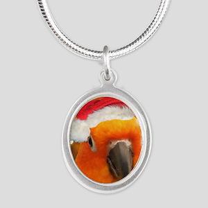 3-christmas_sunconure_ornamen Silver Oval Necklace