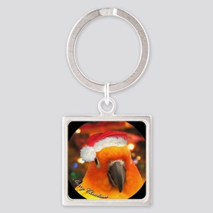 3-christmas_sunconure_ornament Square Keychain