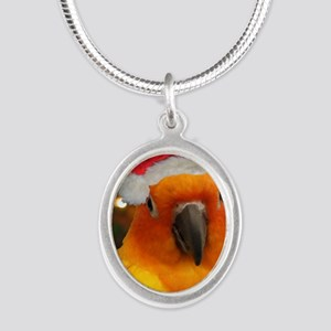 christmas_sunconure_cards Silver Oval Necklace