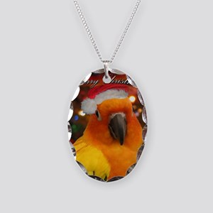 christmas_sunconure_cards Necklace Oval Charm
