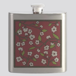 cherry blossoms - red Flask