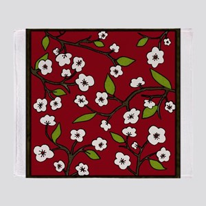 cherry blossoms - red Throw Blanket