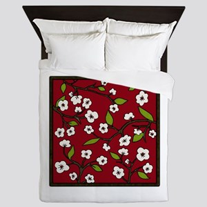 cherry blossoms - red Queen Duvet