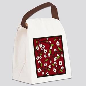 cherry blossoms - red Canvas Lunch Bag