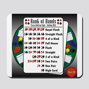 Poker 101 Texas Hold'em Rank of Hands Mousepad