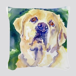 Yellow Lab-watercolor Woven Throw Pillow