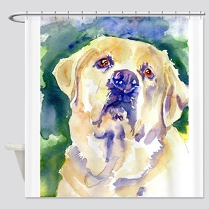 Yellow Lab-watercolor Shower Curtain