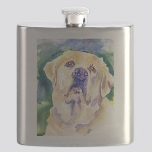 Yellow Lab-watercolor Flask