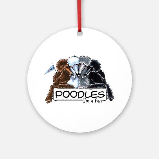 Poodle Fan Ornament (Round)