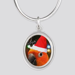 3-sunconure_santa_ornament Silver Oval Necklace